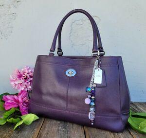 Coach 36899e park carryall saffiano leather tote shoulder bag satchel purse PLUM