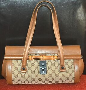 AUTHENTIC, TRULY TIMELESS, BEAUTIFUL VINTAGE  GUCCI MONOGRAM BAMBOO HAND BAG.