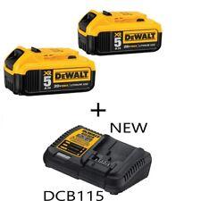 DEWALT DCB205-2 20V XR 5.0Ah Lithium GENUINE Battery-2-Pack + DCB115 Charger
