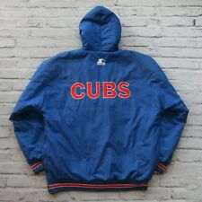 Vintage 90s Chicago Cubs Parka Jacket by Starter Size M L Hooded