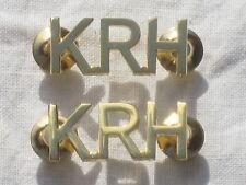 "Kings Royal Hussars ""KRH"",Pair, Brass with Pins,Shoulder titles, english"