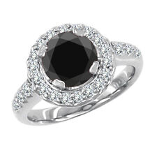 1.2 Carat Black AAA Round Diamond Solitaire Engagement Ring 14K White Gold