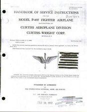 WW2 Curtiss P-40 Warhawk Kittyhawk Maintenance Manual Merlin type 1940's archive