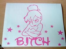 pink tinkerbell bitch fairy dust girls girly vinyl car sticker wall art laptop