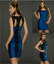 Sz S 8 10 Sleeveless Blue Black Bodycon Club Prom Cocktail Party Sexy Mini Dress