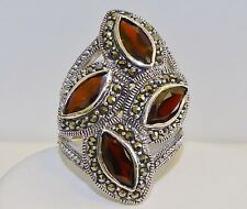 GENUINE 4.32cts! Mozambique Garnet & Marcasite Ring, Solid Sterling Silver 925!