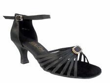 Women's 1671B Black Satin Ballroom Salsa Latin Dance Shoes heel 2.5 Size 7.5