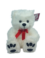 "10"" White Plush Teddy Bear Big Feet Stuffed Animal Toy Gift New"
