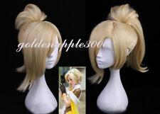 Overwatch OW Mercy Angela Ziegler Blonde +1Clip Ponytail Cosplay Wig