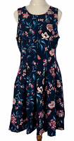 Tokito Womens Black Floral Sleeveless Lined Fit Flare Dress Size 10