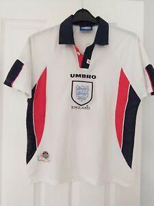 Vintage England Team Kit Shirt, France 1998 World Cup Youth Shearer 9, original