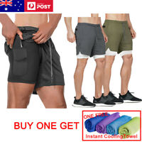 Men 2 in 1 Running Shorts Jogging Gym Fitness Training Quick Dry  Pants Sports