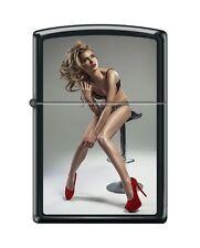 Zippo Lighter: Red Shoe Girl Series IV #7 Black Matte *Sexy Pin up Girl*