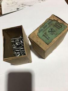 """Vintage Wood Screws Slot 10G x 1 1/4"""" Japan   Box X 66 Screws"""