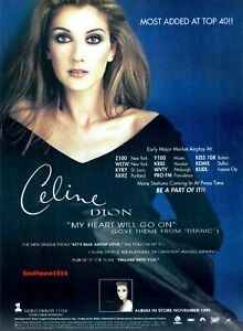 "1997  Celine  Dion ""My Heart Will Go On"" Song Release Promo Reprint Advert."