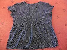 Ladies Unbranded Navy Blue spotted short-sleeved Blouse, Size 14/16?
