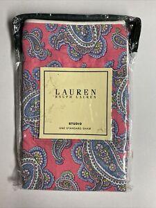 NEW Ralph Lauren STANDARD Sham STUDIO AZALEA PAISLEY Floral Pink Blue