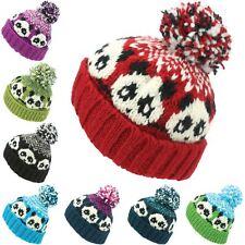 Wool Beanie Hat Bobble Knit Knitted PANDA Lined Men Ladies Warm Winter