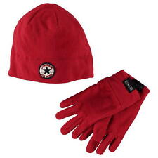 Red Converse Set Beanie Hat & Gloves NEW Age 4-7 Years Fleece Junior Girls