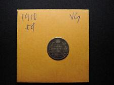 1910 5 Cent Coin Canada Edward VII Five Cents .925 Silver VG Grade