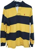 Vtg 90s Polo Ralph Lauren Blue Yellow Striped Long Sleeve Rugby Shirt Small