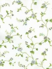 Wallpaper Cottage Mini Rose Trail Vine on White Background Blue, Green, Taupe