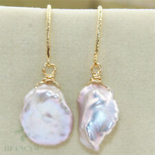 14-15mm Pink Baroque Pearl Earrings 18K Hook Wedding Fashion Gift No Damage