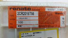 LOT X 55 2CR2016T98 RENATA BATTERIES LITHIUM 6V