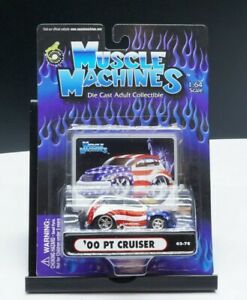 Muscle Machines 2002 Die Cast Collectible American Flag '00 PT Cruiser 1:64