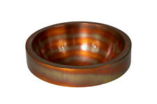 """17x7"""" Round Apron Hammered Copper Bathroom Sink with Fire Finish"""
