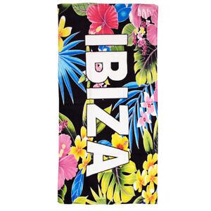 Ibiza Beach Towel Tropical Flowers Black Pool Love Green Floral