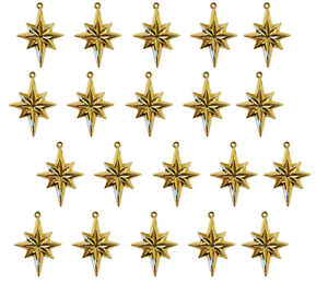 20 pcs North Star Gold Plastic Craft Charms Christmas Accents Embellishments