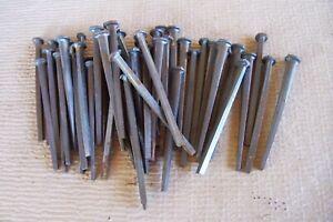 "50 Antique 1920's  NOS Square Cut  20D  4"" Iron Nails For Restoration, Rustic"