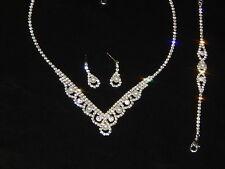 3 Pcs Wedding Silver W. Pearl Crystal Rhinestone Necklace Earrings Bracelet Set