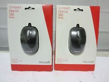 Lot of 2 BRAND NEW Microsoft Black Compact Optical 500 Wired USB Mouse 1344