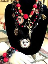 NWT TARINA TARANTINO MIDNIGHT CIRCUS SCISSOR MOON 3 STRAND NECKLACE BRACELET SET