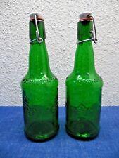 2 VTG Ultenmunster Brauer Bier BEER Green Glass Bottle Porcelain Wire Cap Empty