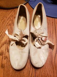 Vintage Antique White Adult Ribbon Tie Tap Shoes - With Taps