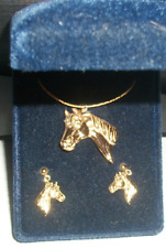 Montana Silversmiths Horsehead Jewelry Set Necklace & Earrings #JS846G