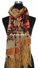 Elegant Golden Vintage Floral 100% Silk Burnout Velvet Oblong Shawl Wrap Scarf