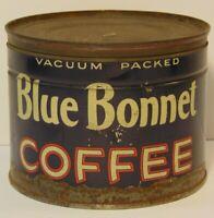 Vintage 1940s BLUE BONNET COFFEE GRAPHIC COFFEE TIN ONE POUND DETROIT MICHIGAN