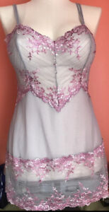 NEW WACOAL CHEMISE  SLIP XL EMBRACE LACE SILVER/PINK    *814191 NEW