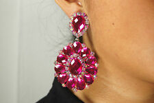 Crystal Clip On Earrings AB Fuchsia Pink  Drag Queen Pageant Bridal Wedding Prom