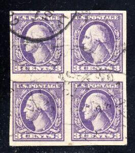 U.S. STAMP #484 BLK 4 3c WASH-FRANK TYPE II, FLAT, IMP, UNWK -1917 USED