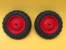 """REAR TIRES WITH RIMS PAINTED """"OLIVER RED""""  1/16 SCALE TOY TRACTOR PARTS"""