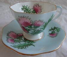Glengarry Thistle Foley English Bone China Light Turquoise Blue Cup & Saucer