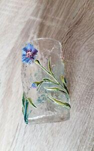 Vintage  glass bud vase.raised flower decoration.