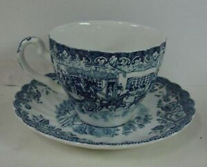 Johnson Brothers COACHING SCENES BLUE Cup Saucer Set NICE More Available