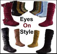 New Girls Kids Cute Zipper Flat Heel  Mid Calf  Slouch Comf Winter Boots Shoes