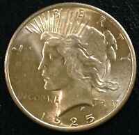 BU $1 1925 Peace Silver Dollar Luster Uncirculated #JC021